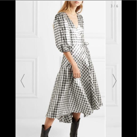 6c4216f0 Ganni Dresses   Lagarde Checked Silkblend Lam Wrap Dress   Poshmark